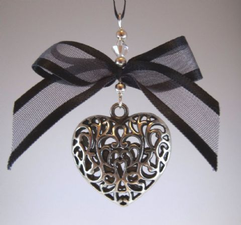 Silver Tone Tibetan Heart, Black Bow &  Crystal - Xmas Tree Decoration